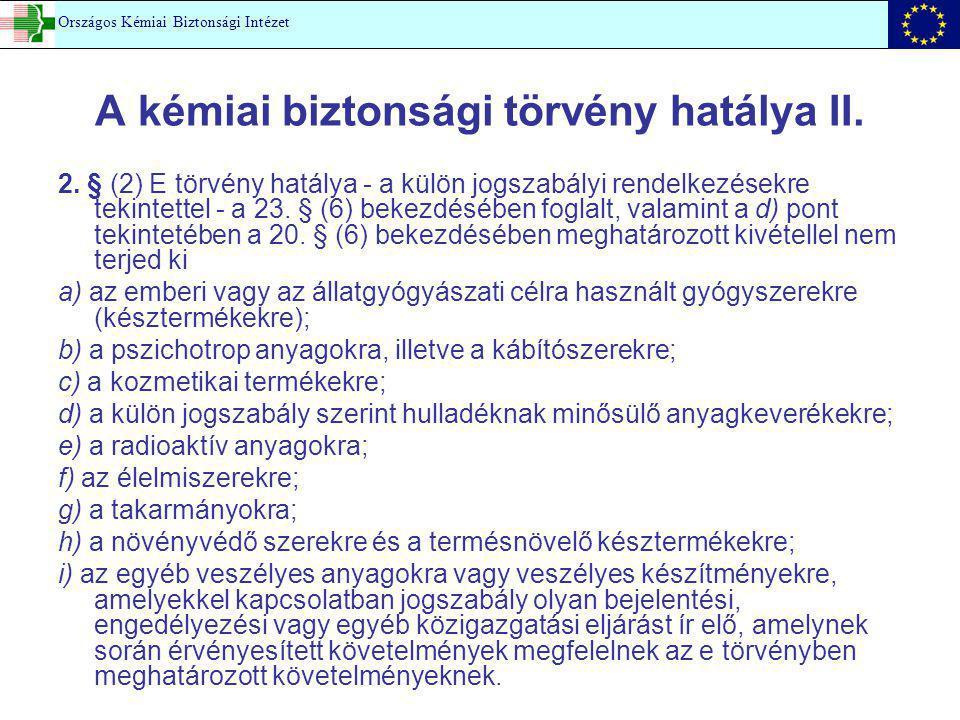 A kémiai biztonsági törvény hatálya II.