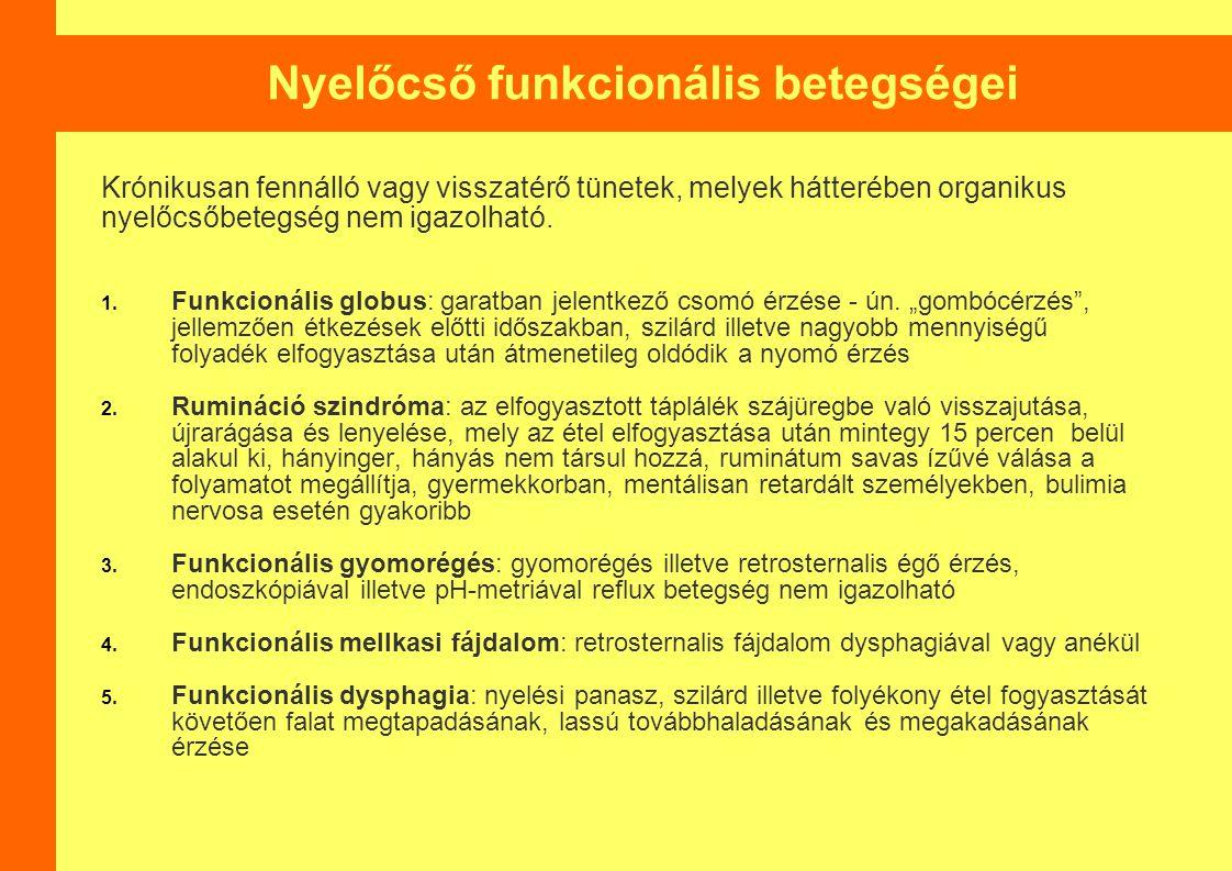 Nyelőcső funkcionális betegségei
