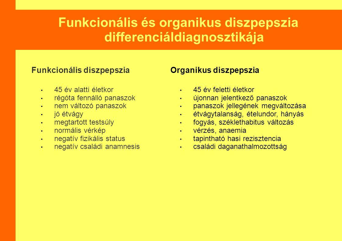 Funkcionális és organikus diszpepszia differenciáldiagnosztikája