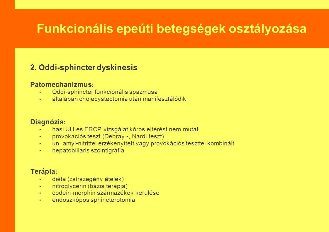 Funkcionális epeúti betegségek osztályozása