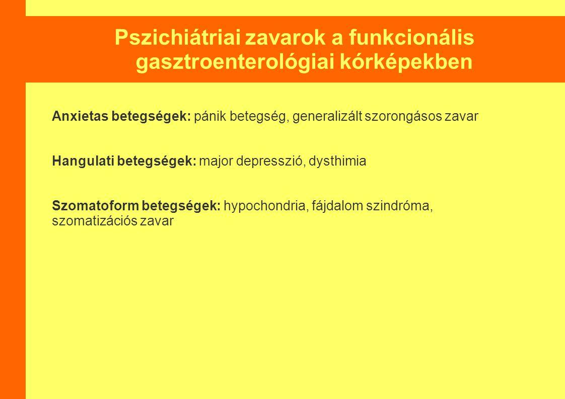 Pszichiátriai zavarok a funkcionális gasztroenterológiai kórképekben