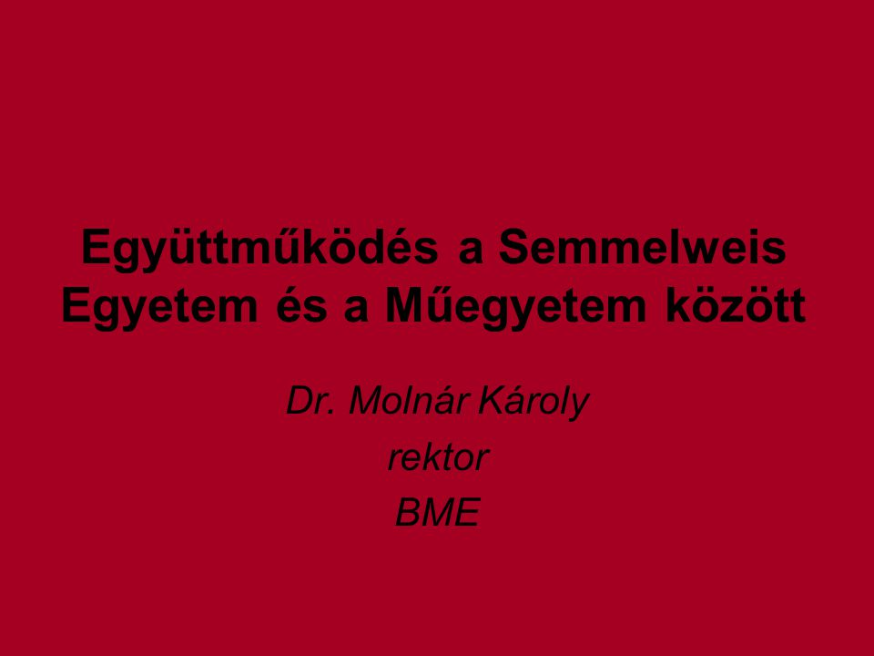 Együttműködés a Semmelweis Egyetem és a Műegyetem között