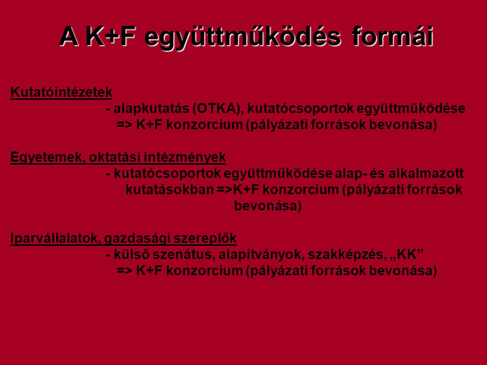 A K+F együttműködés formái