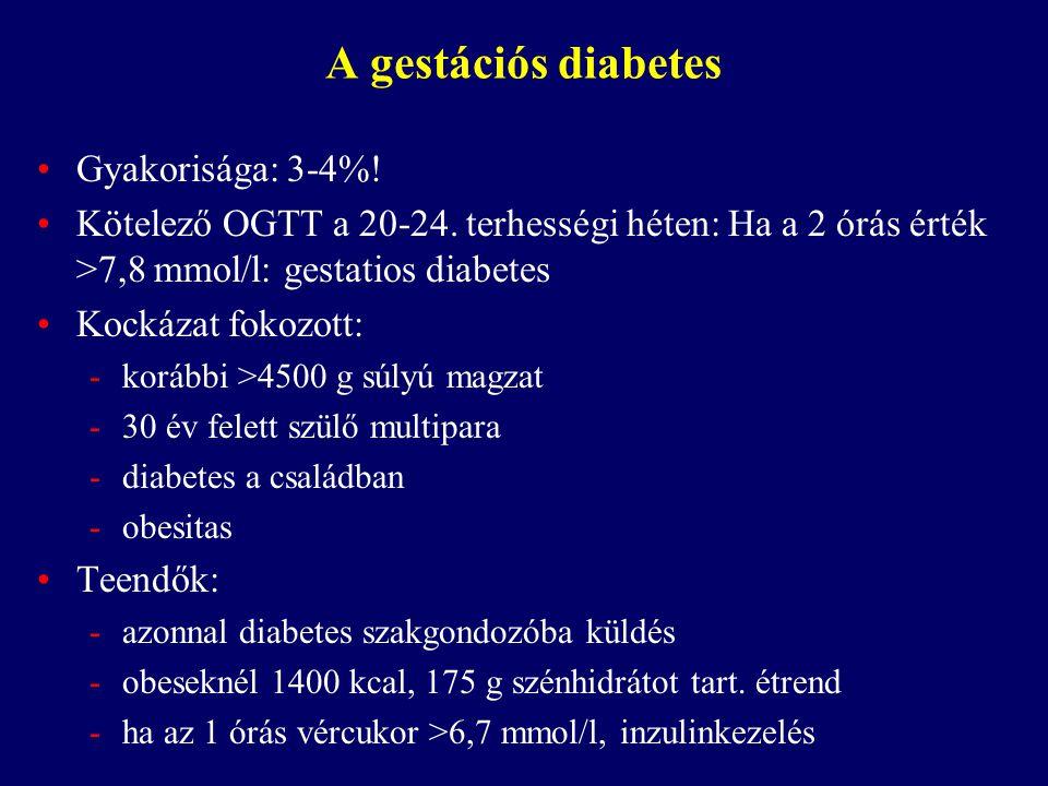 A gestációs diabetes Gyakorisága: 3-4%!