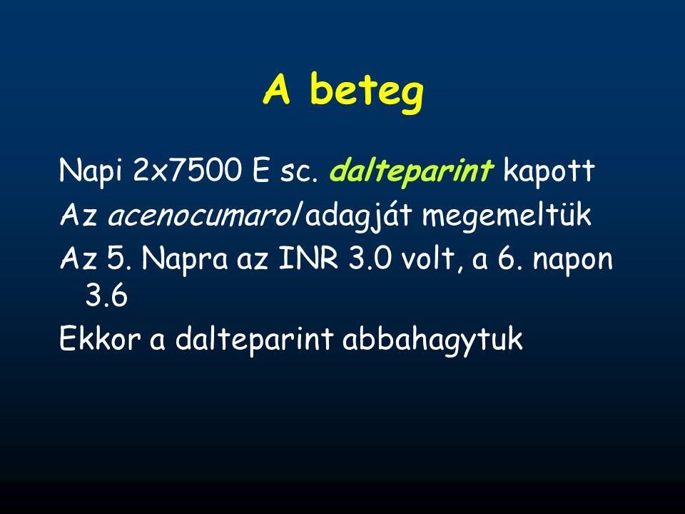A beteg Napi 2x7500 E sc. dalteparint kapott