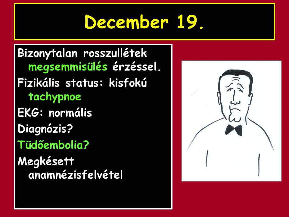 December 19. Bizonytalan rosszullétek megsemmisülés érzéssel.