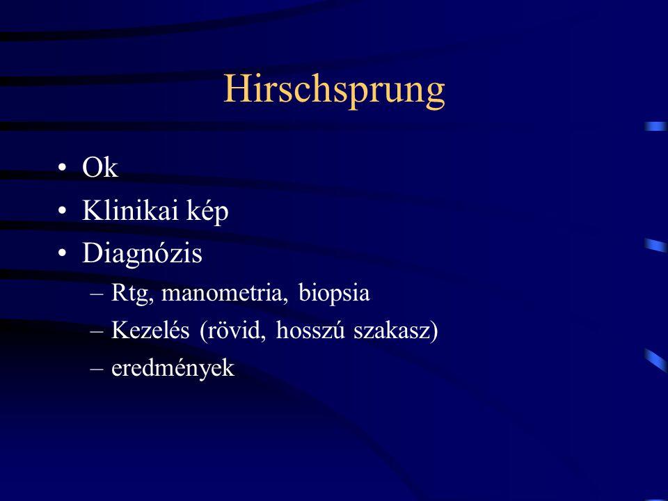 Hirschsprung Ok Klinikai kép Diagnózis Rtg, manometria, biopsia