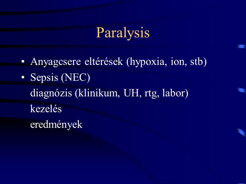 Paralysis Anyagcsere eltérések (hypoxia, ion, stb) Sepsis (NEC)