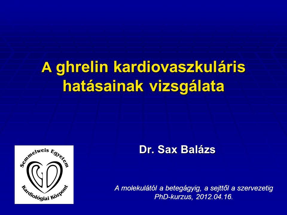 A ghrelin kardiovaszkuláris hatásainak vizsgálata