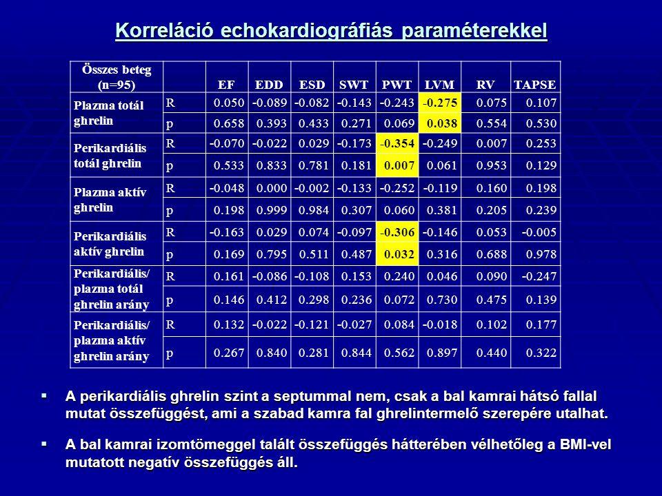 Korreláció echokardiográfiás paraméterekkel