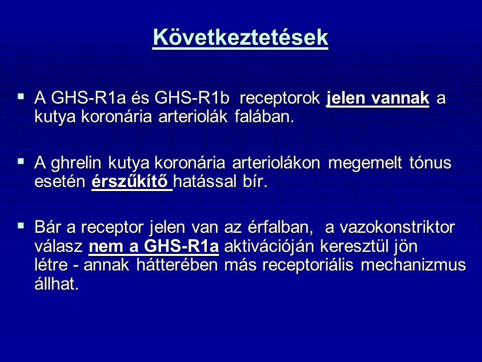 Következtetések A GHS-R1a és GHS-R1b receptorok jelen vannak a kutya koronária arteriolák falában.