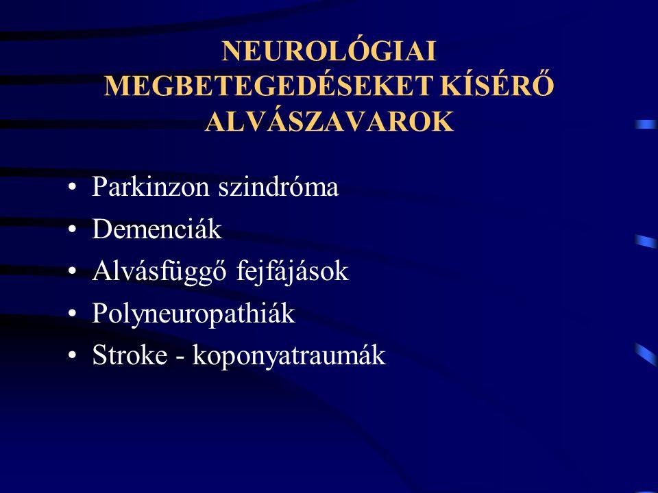 NEUROLÓGIAI MEGBETEGEDÉSEKET KÍSÉRŐ ALVÁSZAVAROK