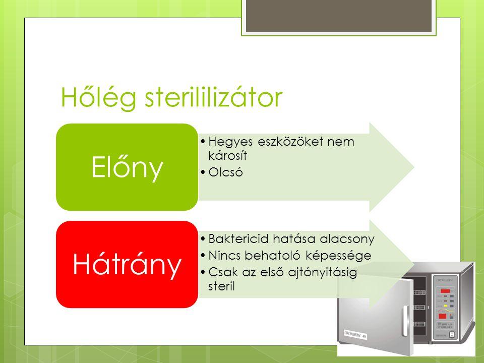 Előny Hátrány Hőlég sterililizátor Hegyes eszközöket nem károsít Olcsó