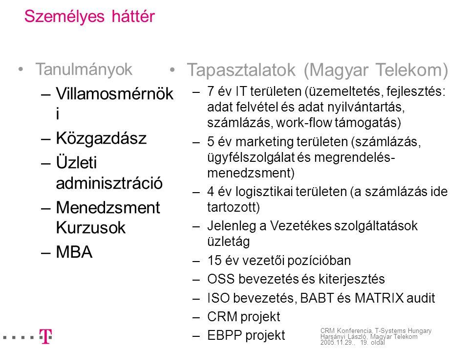Tapasztalatok (Magyar Telekom)