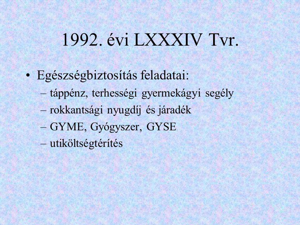 1992. évi LXXXIV Tvr. Egészségbiztosítás feladatai: