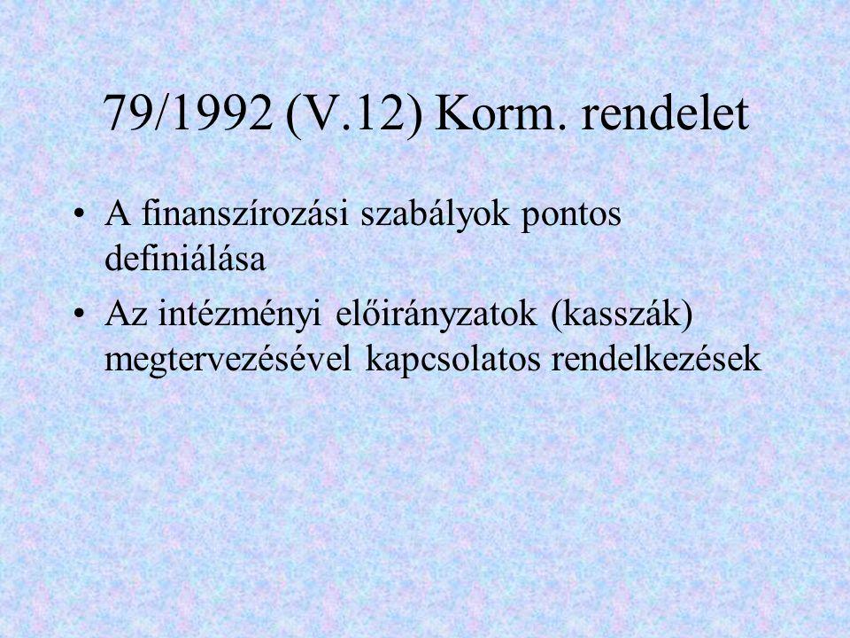 79/1992 (V.12) Korm. rendelet A finanszírozási szabályok pontos definiálása.