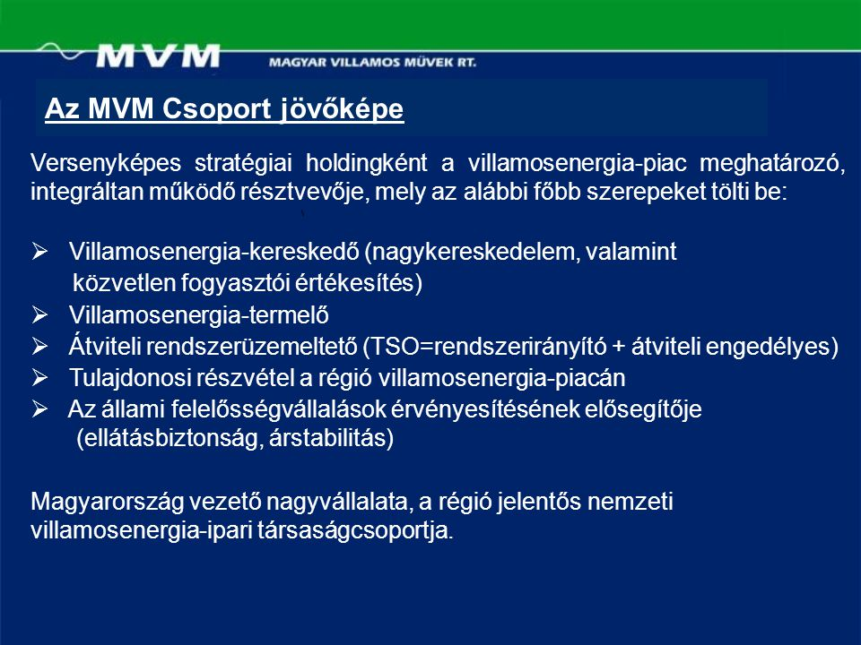 Az MVM Csoport jövőképe