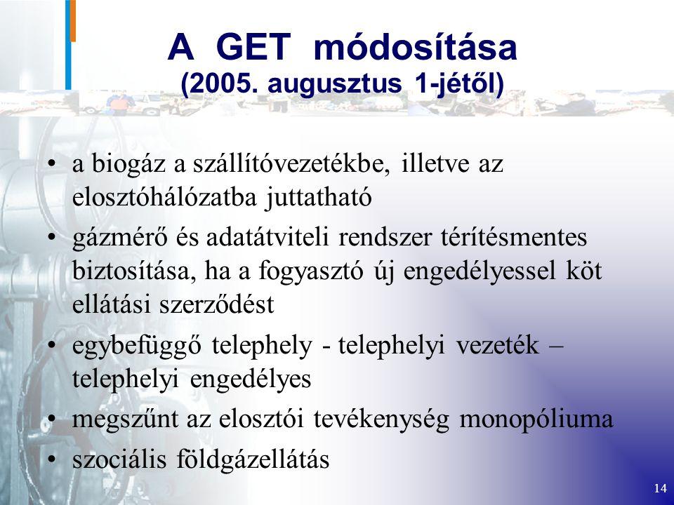 A GET módosítása (2005. augusztus 1-jétől)
