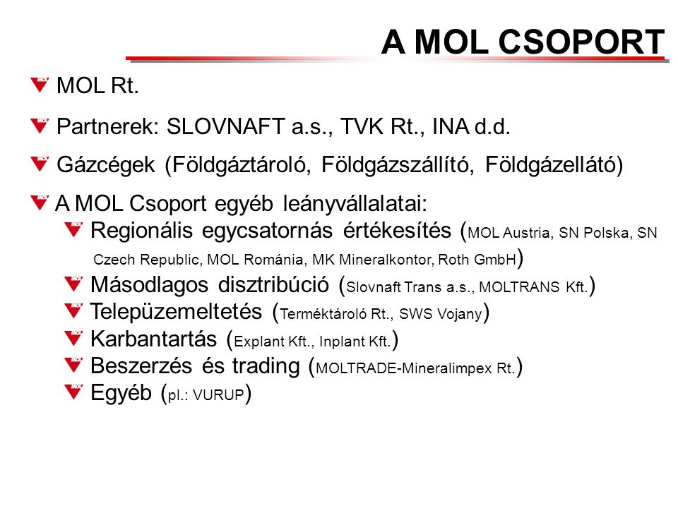 A MOL CSOPORT MOL Rt. Partnerek: SLOVNAFT a.s., TVK Rt., INA d.d.