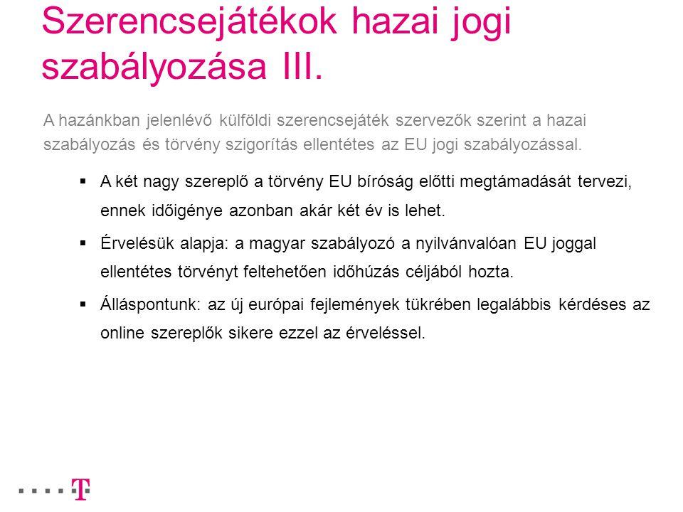 Szerencsejátékok hazai jogi szabályozása III.