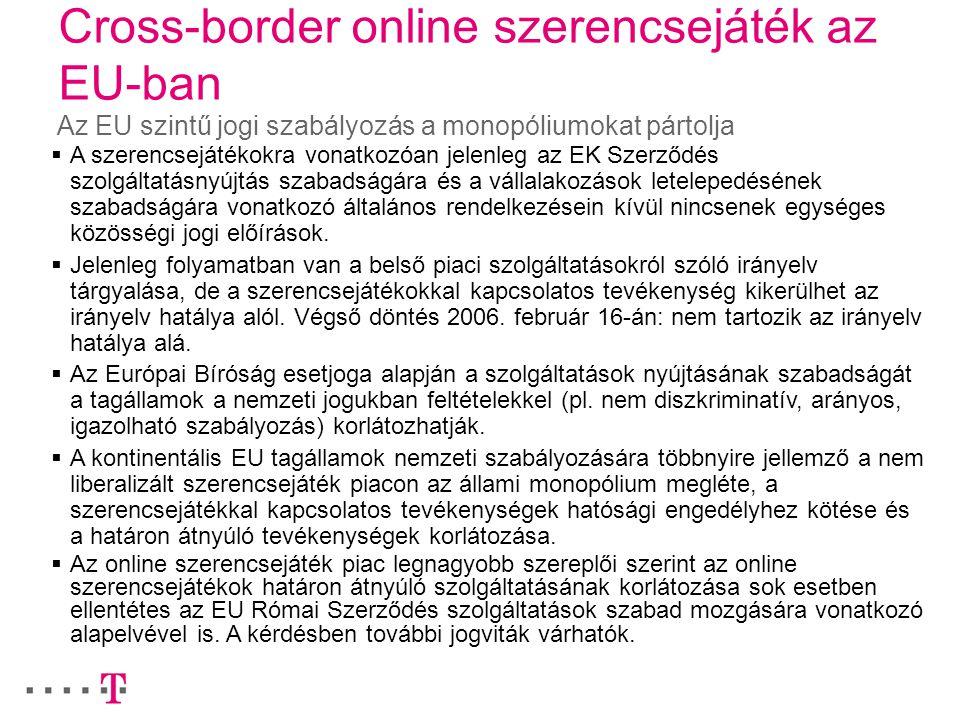Cross-border online szerencsejáték az EU-ban