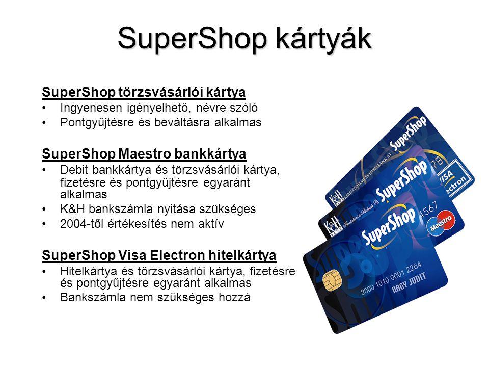 SuperShop kártyák SuperShop törzsvásárlói kártya