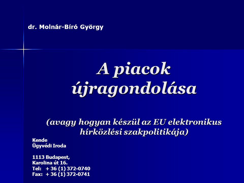 dr. Molnár-Bíró György A piacok újragondolása (avagy hogyan készül az EU elektronikus hírközlési szakpolitikája)