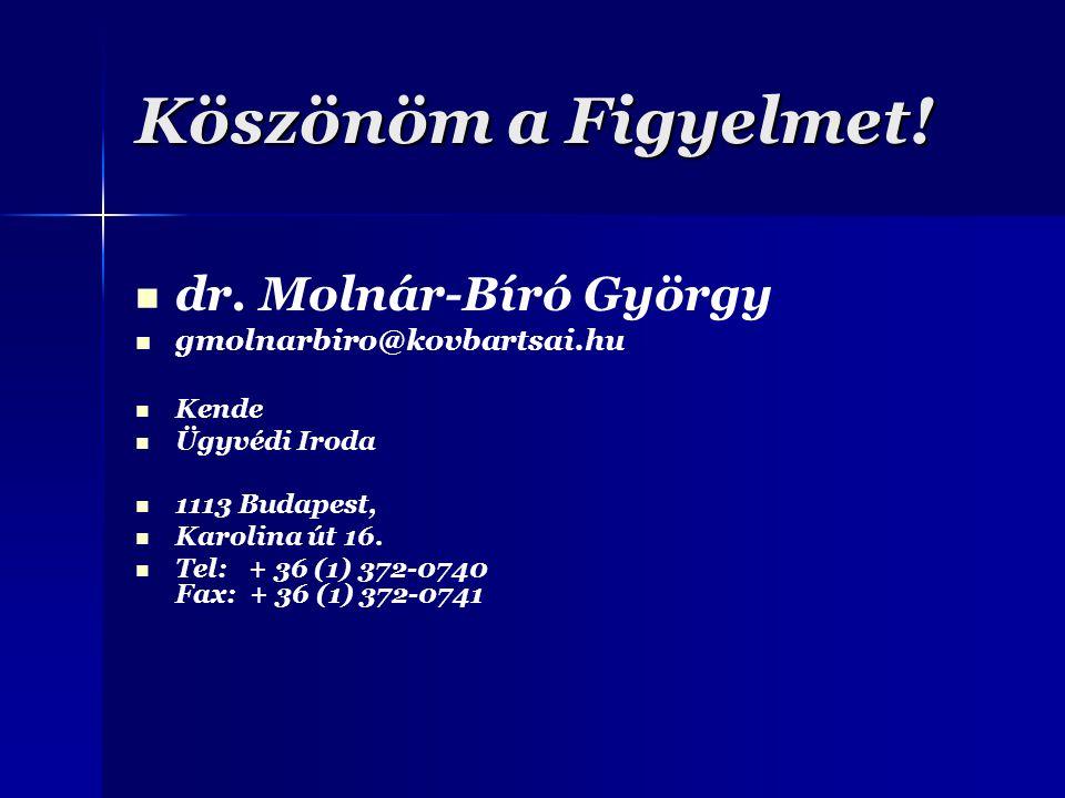 Köszönöm a Figyelmet! dr. Molnár-Bíró György gmolnarbiro@kovbartsai.hu