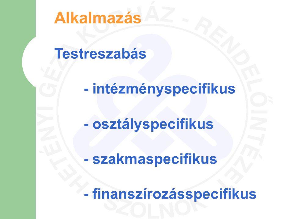 Alkalmazás Testreszabás - intézményspecifikus - osztályspecifikus