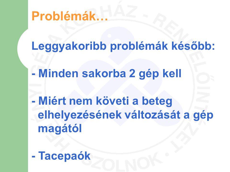 Problémák… Leggyakoribb problémák később: - Minden sakorba 2 gép kell