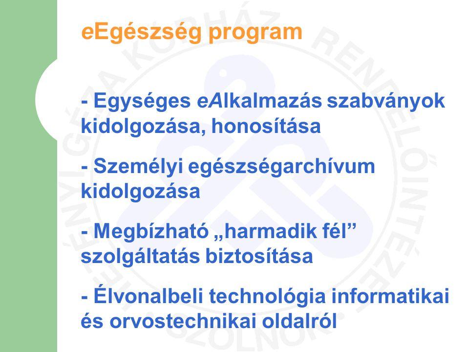 eEgészség program - Egységes eAlkalmazás szabványok kidolgozása, honosítása. - Személyi egészségarchívum kidolgozása.