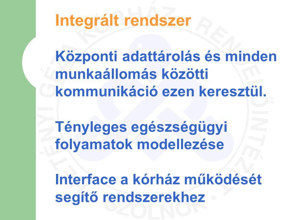 Integrált rendszer Központi adattárolás és minden munkaállomás közötti kommunikáció ezen keresztül.