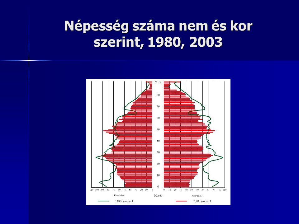 Népesség száma nem és kor szerint, 1980, 2003