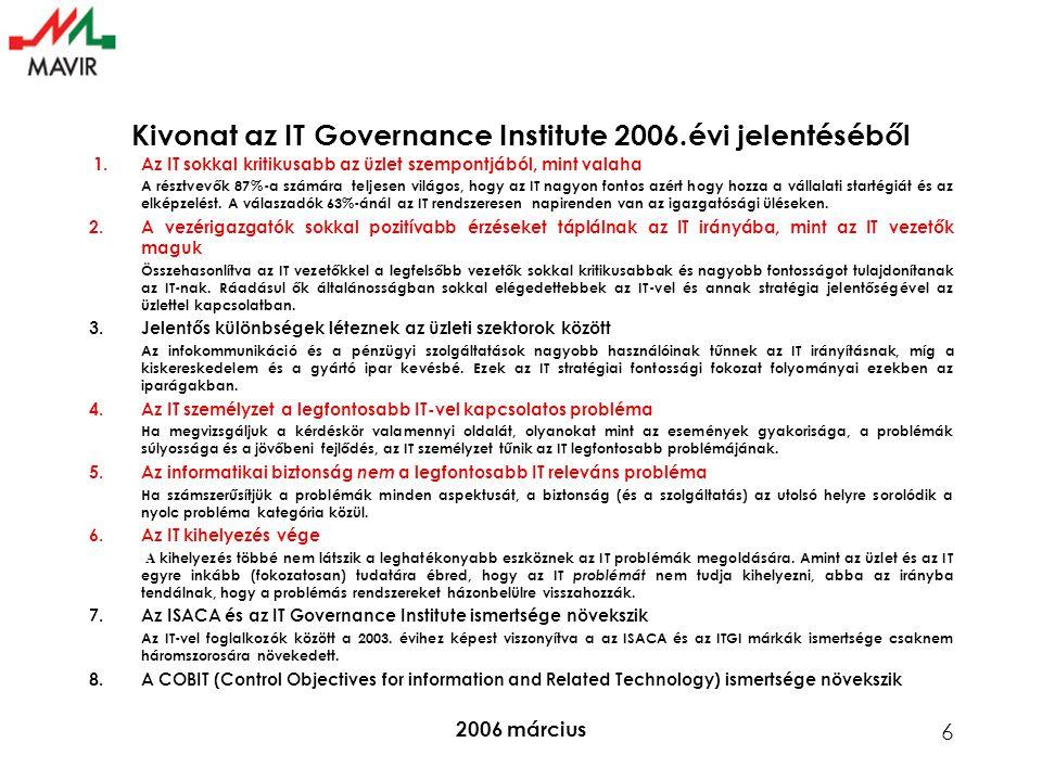 Kivonat az IT Governance Institute 2006.évi jelentéséből