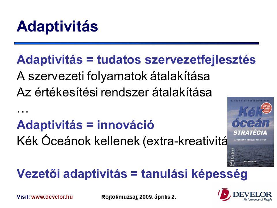 Adaptivitás Adaptivitás = tudatos szervezetfejlesztés