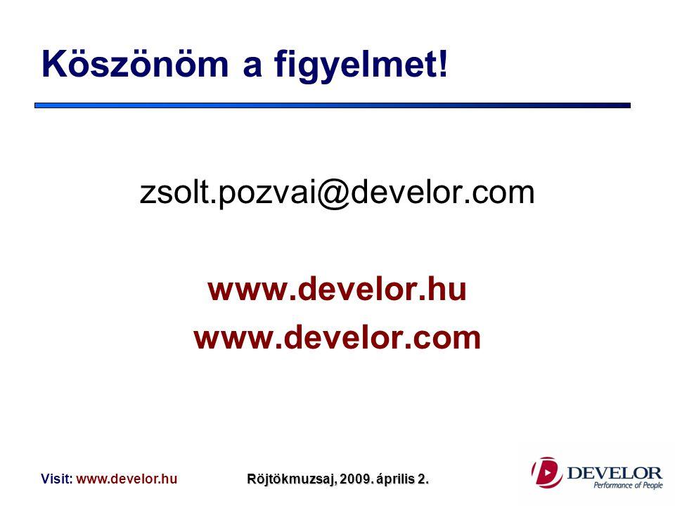 Köszönöm a figyelmet! zsolt.pozvai@develor.com www.develor.hu