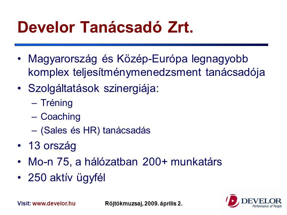 Develor Tanácsadó Zrt. Magyarország és Közép-Európa legnagyobb komplex teljesítménymenedzsment tanácsadója.