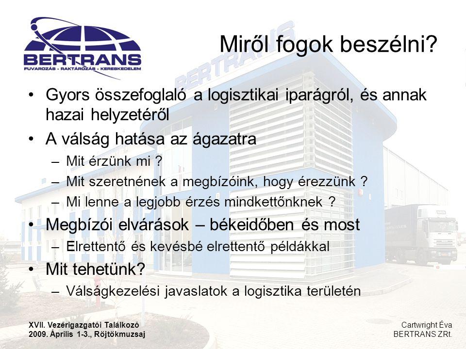 Miről fogok beszélni Gyors összefoglaló a logisztikai iparágról, és annak hazai helyzetéről. A válság hatása az ágazatra.