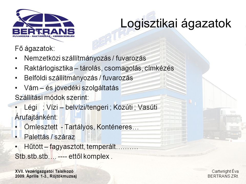 Logisztikai ágazatok Fő ágazatok: