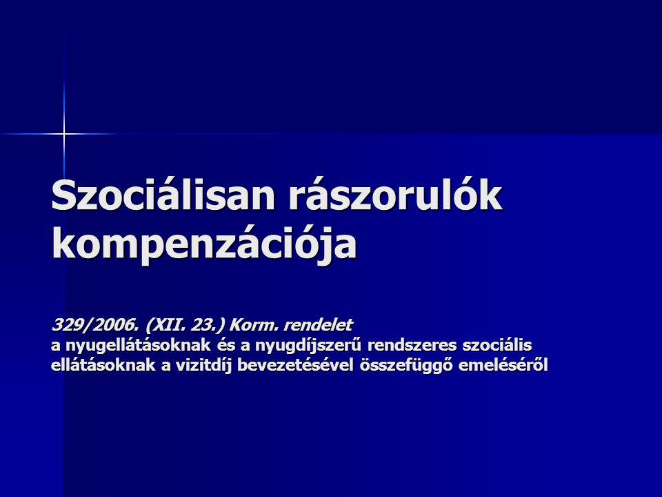 Szociálisan rászorulók kompenzációja 329/2006. (XII. 23. ) Korm