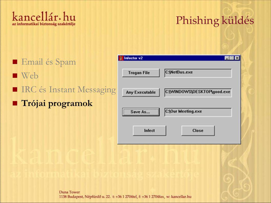 Phishing küldés Email és Spam Web IRC és Instant Messaging