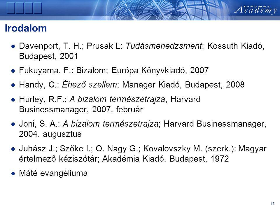 Irodalom Davenport, T. H.; Prusak L: Tudásmenedzsment; Kossuth Kiadó, Budapest, 2001. Fukuyama, F.: Bizalom; Európa Könyvkiadó, 2007.