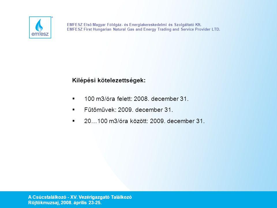 Kilépési kötelezettségek: 100 m3/óra felett: 2008. december 31.