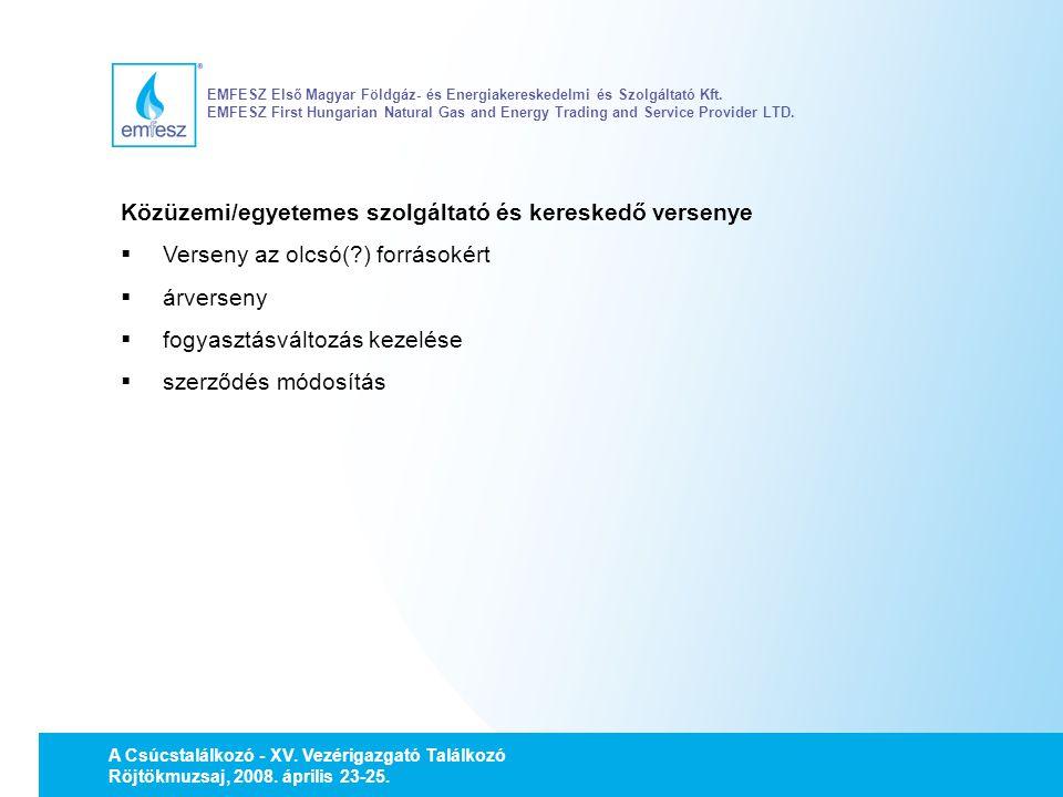 Közüzemi/egyetemes szolgáltató és kereskedő versenye