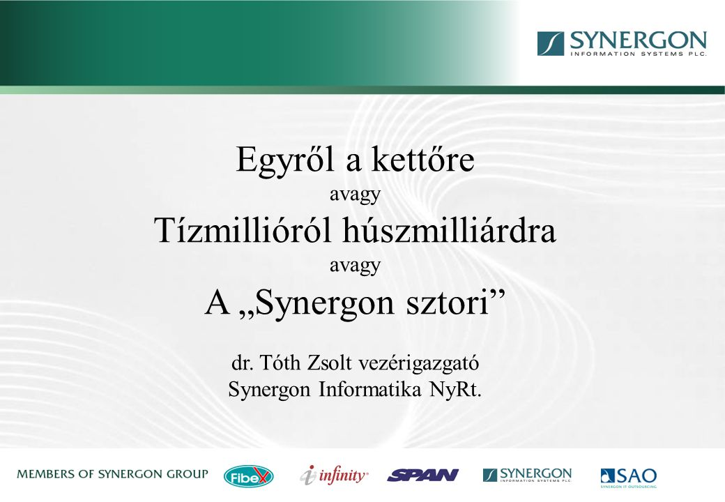 Synergon Group, Synergon Information Systems Plc. A kezdetek,…