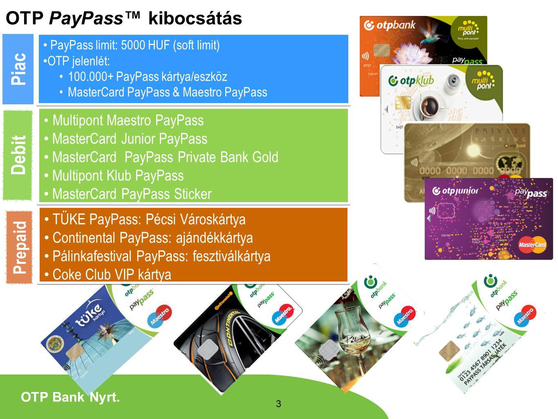 Piac Debit OTP PayPass™ kibocsátás Prepaid MasterCard Junior PayPass