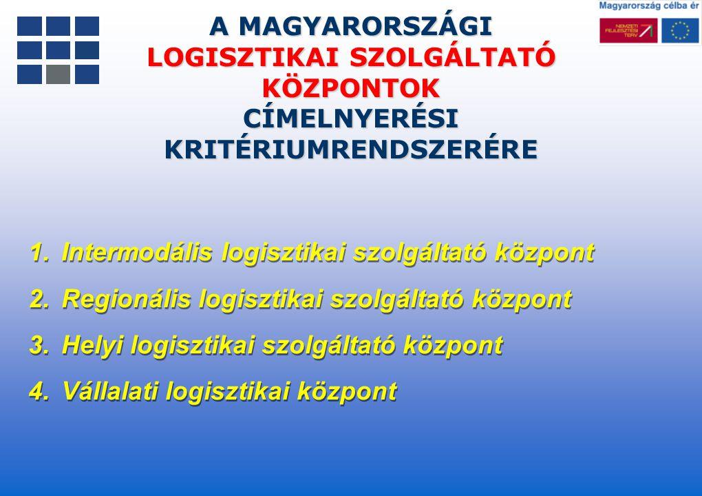 LOGISZTIKAI SZOLGÁLTATÓ KÖZPONTOK CÍMELNYERÉSI KRITÉRIUMRENDSZERÉRE