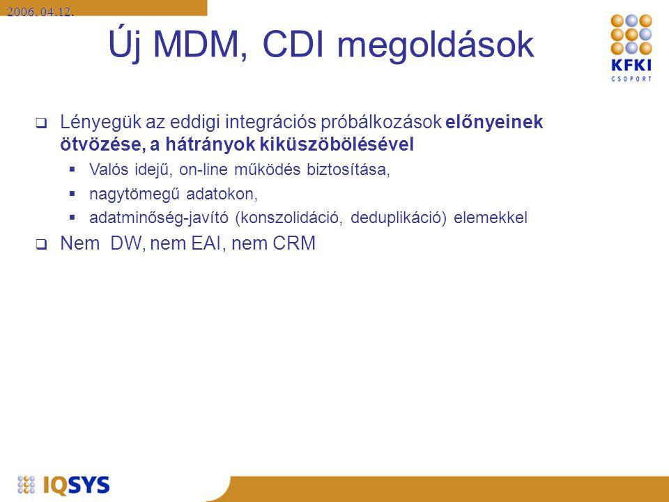 Új MDM, CDI megoldások Lényegük az eddigi integrációs próbálkozások előnyeinek ötvözése, a hátrányok kiküszöbölésével.