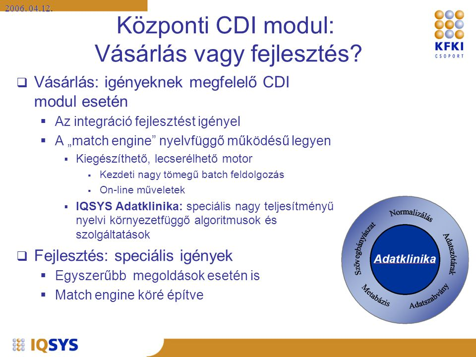 Központi CDI modul: Vásárlás vagy fejlesztés