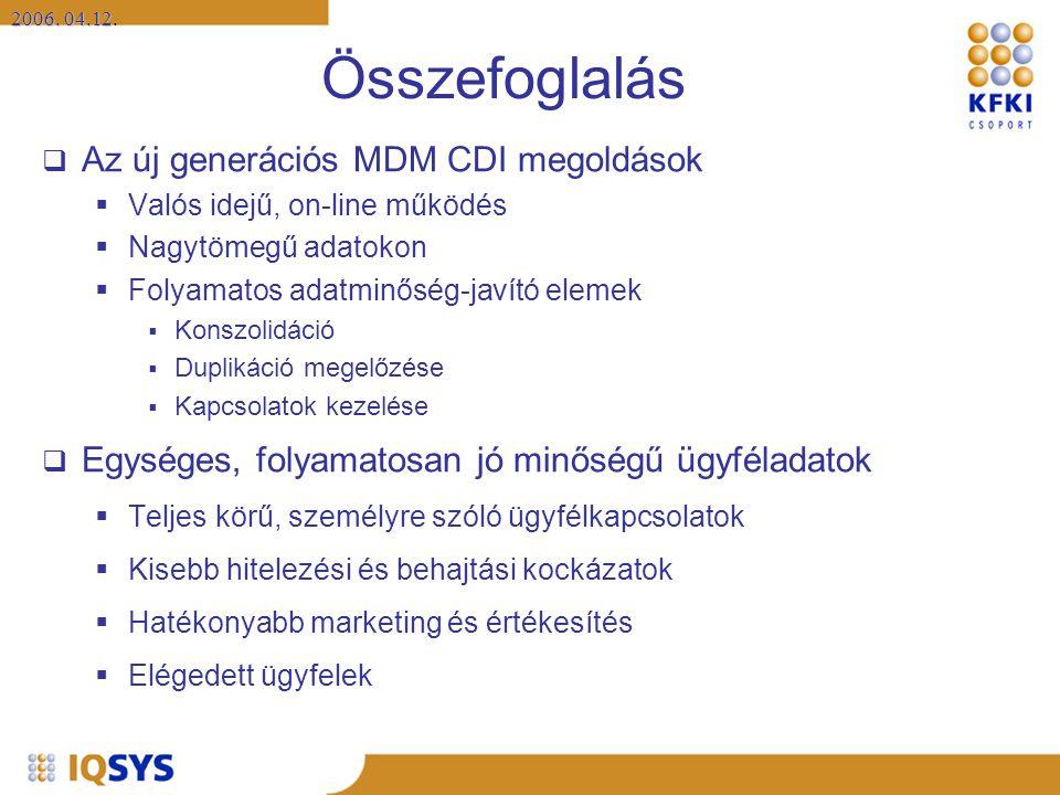 Összefoglalás Az új generációs MDM CDI megoldások